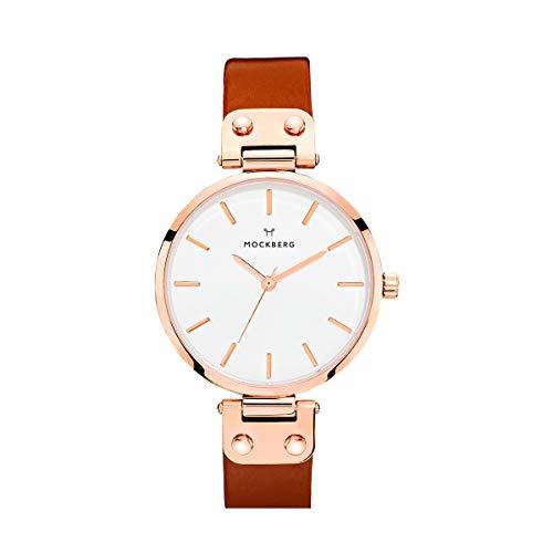 Mockberg Damen Analog Quarz Smart Watch Armbanduhr mit Leder Armband MO109