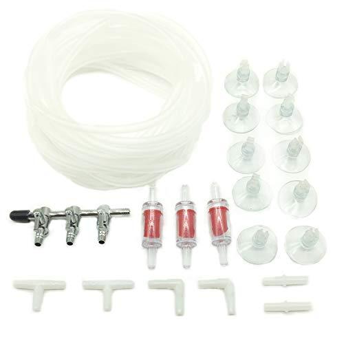 PietyPet 3-Wege Metall Luftverteiler mit 4m Luftschlauch, 3 Rückschlagventil, 10 Saugnäpfe, und 6 Steckverbinder fürs Aquarium