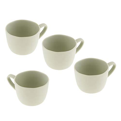 4 Pcs Tazas de Melamina/Tazas de Té/Tazas de Capuchino/Taza de Café Expreso con Asas para Cocina de Hogar - Verde Claro