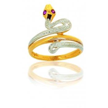 avenuedubijou–Anello Serpente Oro e Zirconi 18kt e In oro giallo 750/1000, 18, cod. aj5317-58