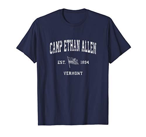 Camp Ethan Allen Vermont VT T-Shirt Vintage US Flag Tee