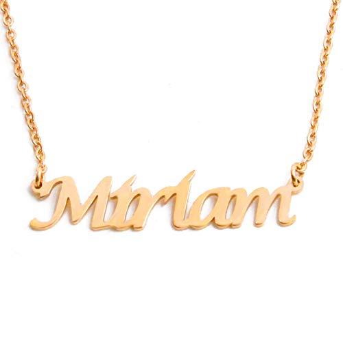 Kigu Miriam - Collana regolabile con nome personalizzato, confezione placcata in oro 18 kt