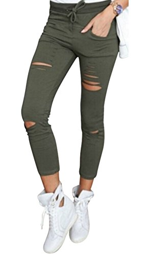 Live It Style It Pantaloni jeggings skinny da donna elasticizzati, strappati Khaki Large