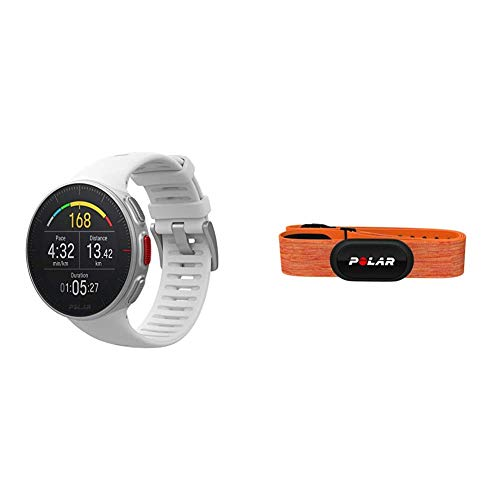POLAR Vantage V Profi-Multisportuhr mit GPS Pulsuhr, Weiß, M/L & H10 Herzfrequenz-Sensor, Orange, M-XXL, Unisex, ANT+, Bluetooth, EKG, Wasserdichter Herzfrequenz-Sensor mit Brustgurt
