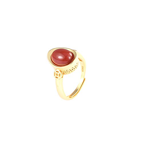 s925 silver ring southern red agate oval egg noodle ingot ring inlaid female open mouth middle finger