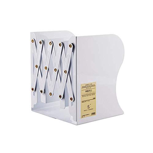 HONGFEISHANGMAO Estantería para Libros Estantería Simple Vertical Hierro Forjado Estante retráctil Ajustable Estante Libro Soporte Plegable Estante Organizador de Libros (Color : White)