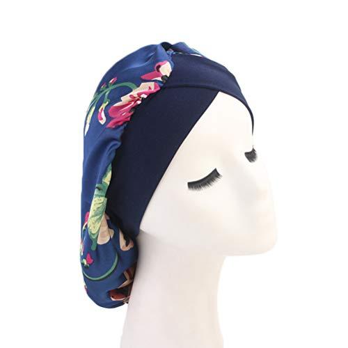 Lurrose bonnet de cheveux en soie bonnet de nuit large bande sleepturban couvre-chef bonnet de chimio imprimée pour femme (bleu)