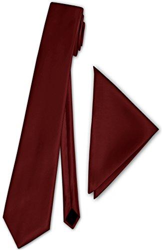 PABLO CASSINI (Krawatten) Herren Satinkrawatte mit Einstecktuch Anzug Krawatte Edel Satin 30 Farben NEU (Bordeaux)