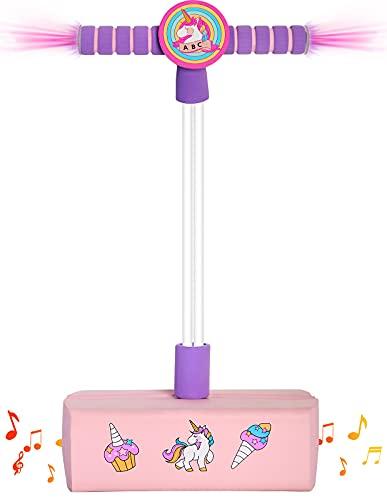dreaming abear Einhorn Outdoor Spielzeug ab 3 Jahre ,mädchen Spielzeug Pogo Stick Jumper mit Licht & Sound, Geschenke für Kinder ab 3 Jahren(Pink)