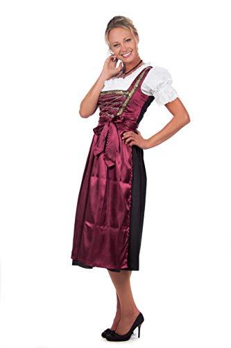 Bayerische Damen Midi Dirndl Kleid 3-teilig mit Schürze und Bluse Schwarz Rot,Rot - 50