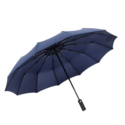 DeHolifer Automatischer Sonnenschirm Dicker Regenschirm Sonnenschutz, UV-Schutz Schwarzer Kunststoff-Regenschirm Männer/Frauen DREI Klapp-Business-Regenschirm