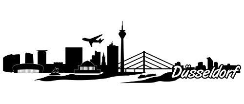 Samunshi® Düsseldorf Skyline Wandtattoo Sticker Aufkleber Wandaufkleber City Gedruckt Düsseldorf 120x32cm schwarz