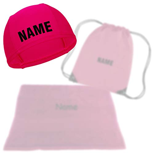 Kinder Badekappe pink mit Namen bedruckt | Turnbeutel Druck mit Name | Handtuch mit Wunschnamen bestickt | Schwimmkappe Badehaube Schwimmhaube | Schwimmverein | verschiedene Sets (Badekappe mit Name)