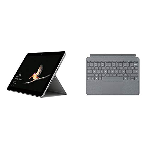 Microsoft Surface Go - Ordenador Portátil de 10' (Intel Pentium 4415Y, RAM de 4 GB DDR4, EMMC de 64 GB, Windows 10 Home en S Mode), Plata + Cubierta para Tablet Surface Go, Plata