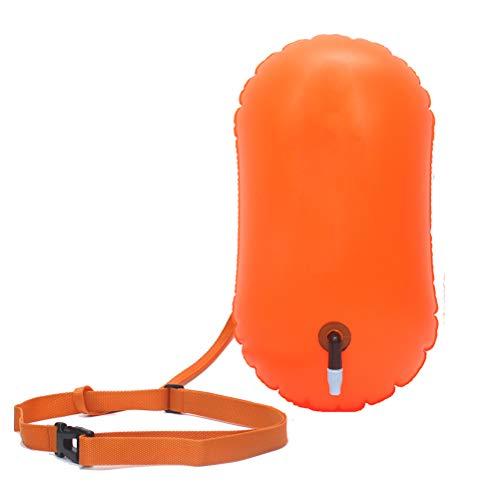 Ahagut Head Schwimmboje und Trockensack Sicherheit beim Schwimmen Open Water Schwimmen Verstellbarem Taillengürtel Swim Boje Trockenbeutel wasserdichte Strandtasche(orange)