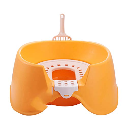 OMKMNOE Gato Inodoro Gato Entrenamiento Kit de Inodoro Productos Mascotas plástico Grande Gato Caja Caja Bandeja extraíble Cama portátil Cacerola paño,Naranja