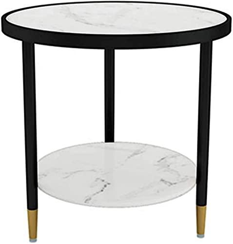 Soffbord av soffmetall med 1 öppet fack och 1 förvaring i bottenfack, marmorbänkskiva kollegering runt soffahörn Litet sängbord (färg: E)