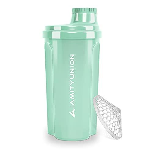 """Coctelera de proteínas 700 ml """"Heaven"""" a prueba de fugas, sin BPA con tamiz y escala que se pueden hacer clic para batidos cremosos de suero, mezclador de proteínas, original en Azul menta"""