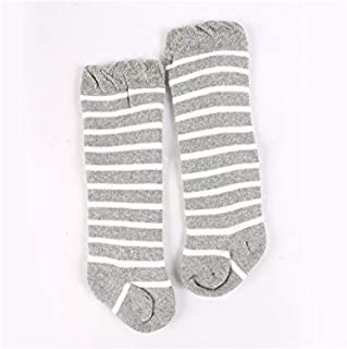 Lovely Socks Children Cotton Socks Kids Autumn and Winter Stripe Patterns Terry Mid Tube Socks(Purple) Newborn Sock (Color : Grey, Size : S)