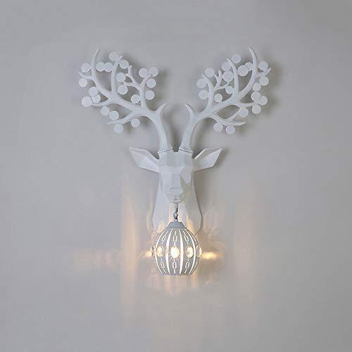 Lámpara de pared de resina nórdica lámpara de cabecera de venado de geometría creativa, sala de estar de pasillo de restaurante moderno lámpara de pared de fondo de TV lámpara de cristal LED(45x39cm)