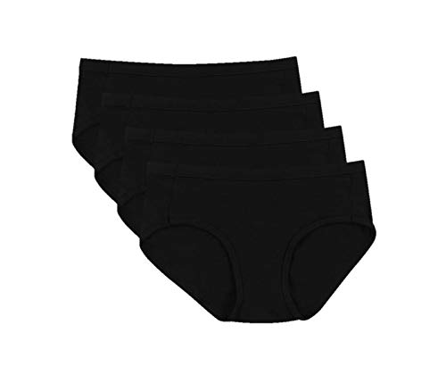 Hanes Ultimate Women's 4-Pack Cotton Stretch Cool Comfort Hipster Panties, Black, 5