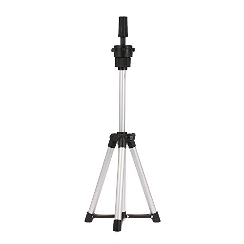 Anself Mini Wig Tripod Stand, Aluminum Lightweight Adjustable Cosmetology Training Doll Mannequin Head Tripod Wig Stand Salon or Home Use (14.57in-20.47in)