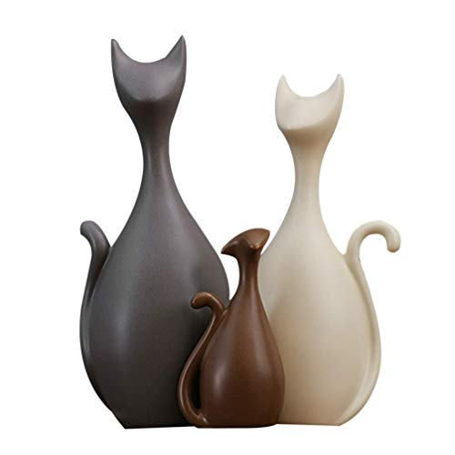 LGYKUMEG Keramische Katze Handwerk Dekoration Familie, Statuette Porzellan Katze, Tier Keramik Handwerk Kunst Figuren für geschirrdekoration,3pcs