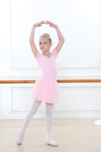 Vestido de Ballet Maillot de Danza para niñas Traje de Ballet de Leotardo gimnástico de Manga Corta con Falda de tutú