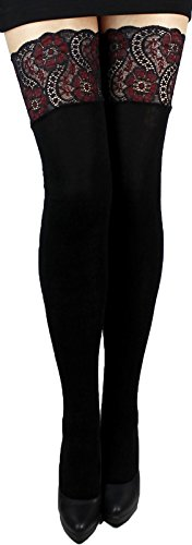 Unbekannt Warme weiche halterlose Strümpfe blickdicht 200 den mit Spitzenabschluß und Silikonstreifen für Winter (L, schwarz 2)