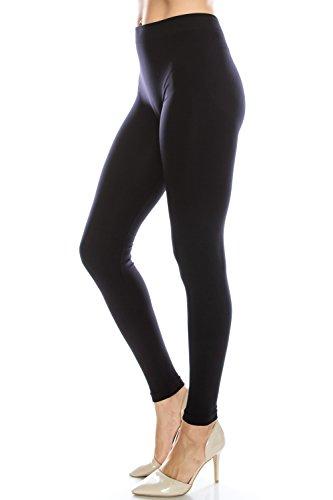 EttelLut Nylon Spandex Basic Leggings for Women Gym Black M