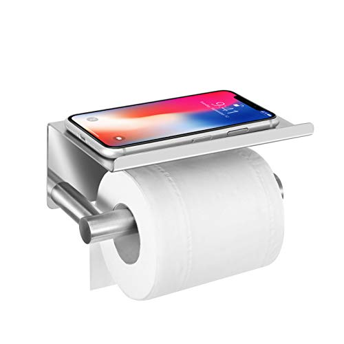 Upgrade Toilet Paper Holder with Anti-Drop Larger Phone Shelf,Self Adhesive Toilet Paper Roll Holder for Bathroom,Stainless Steel Tissue Paper Holder,Wall Mounted with Adhesive Pad or Screws,Brushed