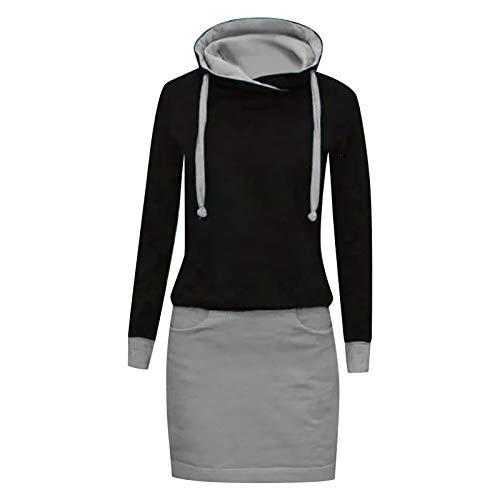 Xmiral Kapuzen-Kleid Farbblock Langarm Damen Lange Sweatshirt Beiläufig Fake Zwei Pullover Kleider(b-Grau,XL)