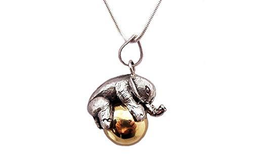 Sterling Silver Elephant Bali Harmony Ball Chime Pendant, Harmony Bola Necklace