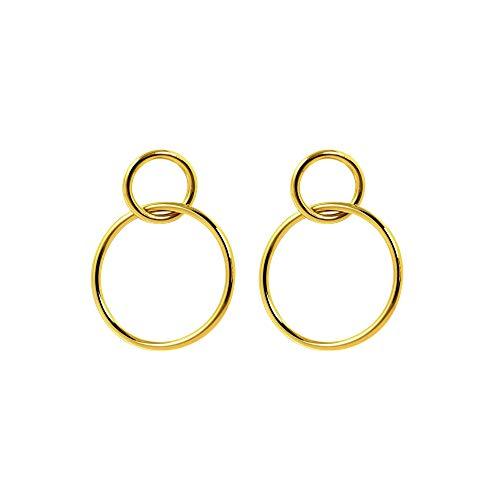 SINGULARU ® - Pendientes Sister Oro para Mujer Latón con baño de Oro de 18k - Joyas mujer