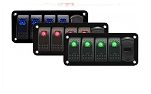 LIANGJIN 5 Gang Toggle Rocker LED Panel de Interruptor + Pegatina Voltímetro Digital Dual USB Puerto 12V Combinación de Salida Impermeable Coche Barco Marino (Color : Red)