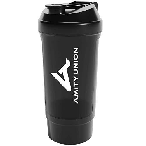 """Protein Shaker 700 ml """"FYRA"""" auslaufsicher - BPA frei mit Pulverfach & Sieb und Skala für cremige Whey Protein Shakes, Shaker Proteinshake, Eiweiß Shaker Becher für Bcaa und Gaming Booster in Schwarz"""