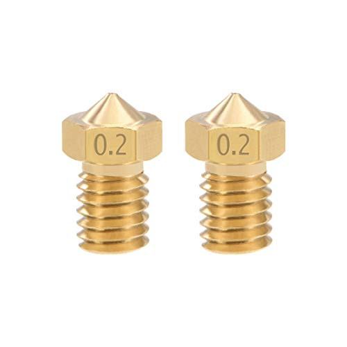 sourcing map 0.2mm 3D Printer Nozzle Head M6 Thread Replacement for V5 V6 1.75mm Extruder Print, Brass 2pcs