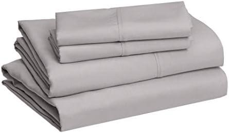 Amazon Basics Lightweight Super Soft Easy Care Microfiber Bed Sheet Set with 14″ Deep Pockets – Queen, Dark Gray