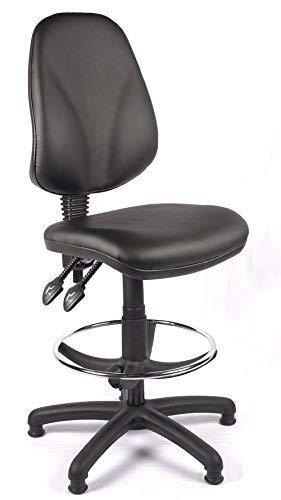 LaLa POP Relax Oficina respaldo alto dibujante silla del balanceo con soporte lumbar, Presidente de recepción cómodo, Laboratorio de oficinas alto Sillón, Silla de ordenador, Conferencia (Negro Vinilo
