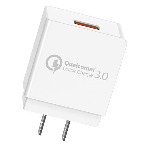 Quick Charge 3.0 Cargador de pared USB Quick Charger con Qualcomm 3.0 certificado para Samsung Galaxy S9, S8, S7 Edge, S6, Note 8 7 5, LG G6 G5, Nexus 6, HTC 10, U11, iPhone y otros dispositivos con carga rápida