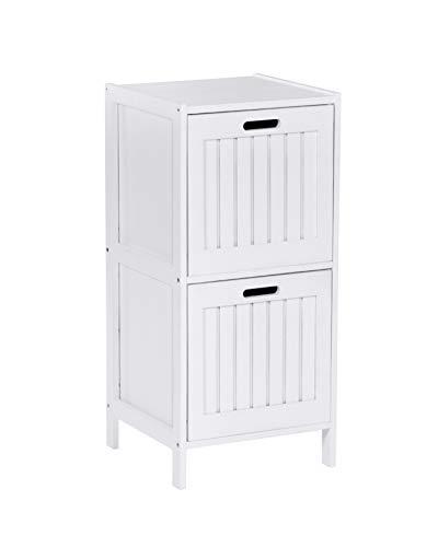 ts-ideen Badezimmer Flur Diele Schrank Regal Wäsche Truhe 78 cm Höhe Badmöbel Massiv Walnuss Holz Weiß