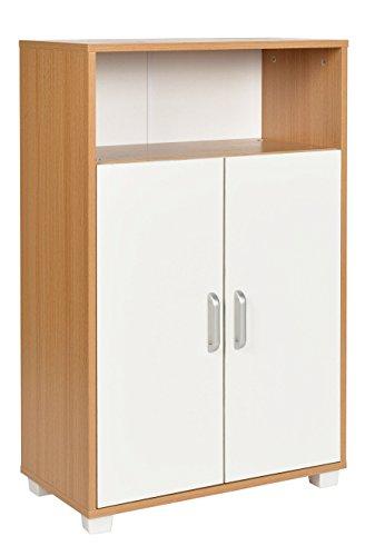 ts-ideen Schrank Kommode Sideboard Küchenbuffet Standregal MDF Weiß Holzoptik 94 x 60 cm