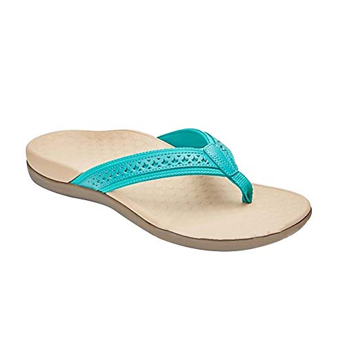 Chanclas para mujer, con suela de masaje, sandalias para mujer, verano, sandalias de playa y sandalias de piscina, (Azul B), 41 EU