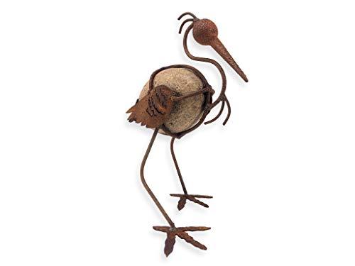 Crispe Edelrost Deko Vogel zum Hinstellen, aus Metall und Stein