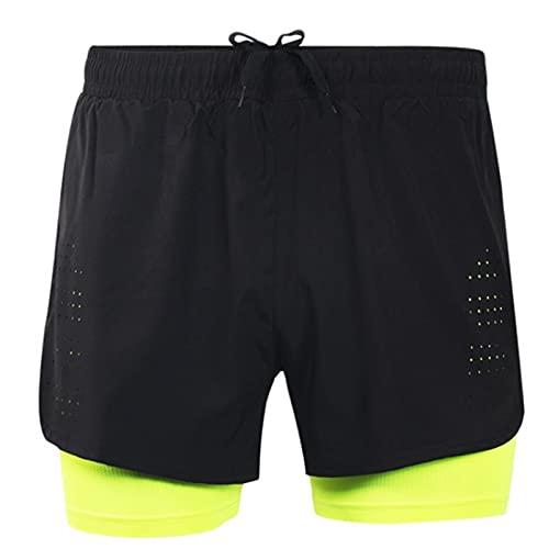GDYJP Pantalones Cortos para Correr 2 en 1 para Hombres Quick Secreing Transpirable Activo Ejercicio Ejercicio Jogging Cycling Shorts con Forro más Largo (Color : A, Tamaño : L)