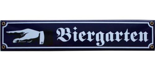 Bier Garten Emaille Schild Biergarten mit Hand nach links 8 x 40 cm Emailschild blau.