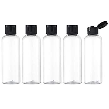 Lisapack 3.4Oz Travel Bottles with Flip Cap  5 Pcs  Empty Transparent Dispenser Container for Travel Size Cosmetics  100ml Clear