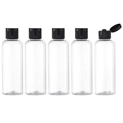 Toureal 100ML Reiseflaschen Set mit Flip Cap (5 Stück) Leere Spender Plastikflasche Set, Abfüllflaschen für Kosmetik mit Trichter (Klar)