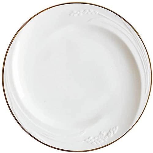 ZRB Juego de Platos, Cerámica Cena Conjuntos Cerámica Placa Occidental Placa de Steak Placa Cuadrado Nórdico Nórdico Simple Vajilla Máquitura Phnom Plate Gold Edge 10 Pulgadas