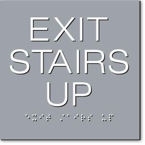 EXIT Stairs UP Max 73% OFF Super beauty product restock quality top Sign - Gray Units 3 White